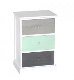 Mobile per la casa in legno bianco con 3 cassetti colorati 42 x 63 centimetri