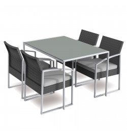 Set pranzo da giardino con tavolo e 4 poltrone in rattan sintetico con cuscini