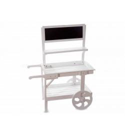 Carretto espositivo in legno bianco con lavagna altezza 1,10 metri