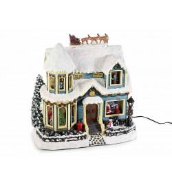 Carillon casetta Natalizia con luci suoni ed albero in movimento idea regalo