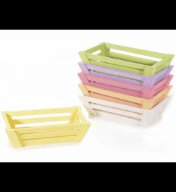 Set 6 cassette in legno colorato cestini porta tutto