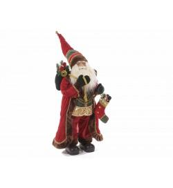 Babbo Natale con abito rosso effetto velluto sacco e calza doni