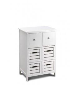 Cassettiera in legno bianco moderno 4 cassetti 50 x 75 centimetri