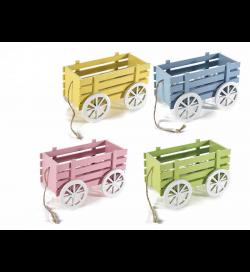 Carretti decorativi in legno colorato set da quattro pezzi