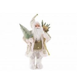 Babbo Natale decorativo con abito bianco e sacco doni decorazione per negozi e vetrine