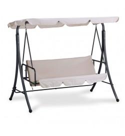 Dondolo da giardino in acciaio a 3 posti con schienale abbattibile e cuscini beige