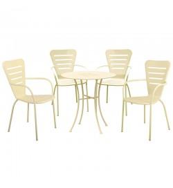 Set pranzo da giardino con tavolo rotondo in acciaio e 4 sedie con braccioli