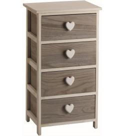 Cassettiera Shabby chic in legno naturale con 4 cassetti e pomoli a cuore 40 x 73 centimetri