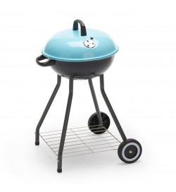 Barbecue da giardino a carbonella griglia rotonda supporto in acciaio e ruote