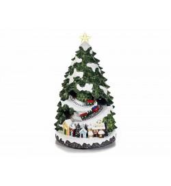 Albero di Natale con trenini in movimento carillon di Natale