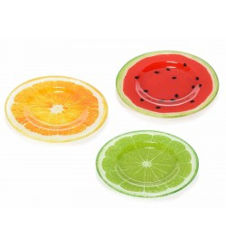 Servizio da 6 piatti in vetro con frutti colorati