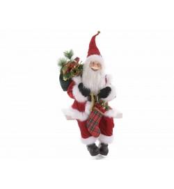 Babbo Natale decorativo con sacco e calza doni decorazione per casa negozi e vetrine
