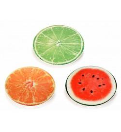 Servizio di piatti in vetro decorati con frutti 6 pezzi