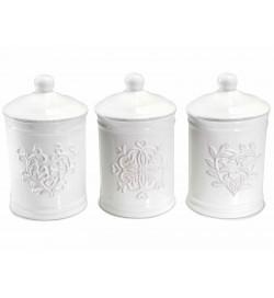 Barattoli da cucina per alimenti in ceramica Shabby Chic set da 3 barattoli