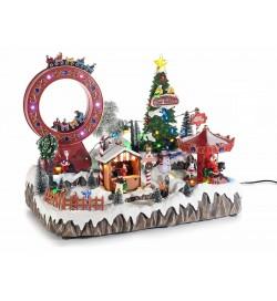 Carillon Natalizio luna park con luci suoni e giostre in movimento idea regalo per Natale