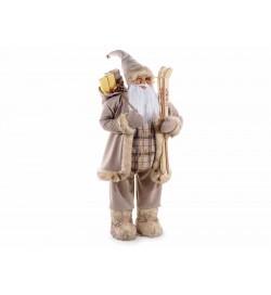 Babbo Natale da vetrina con abito marrone sacco doni e sci per negozi vetrine casa