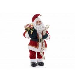 Babbo Natale da vetrina con abito in velluto cintura dorata e lista dei doni altezza 1,07 metri per casa vetrine e negozi