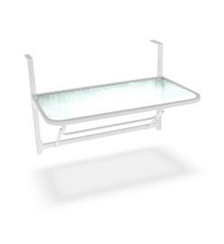 Tavolino da balcone con piano d'appoggio in vetro struttura in ferro bianco