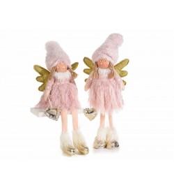 Angeli Natalizi in pelliccia sintetica set da 2 addobbi Natalizi per casa e vetrine
