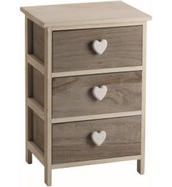 Cassettiera Shabby chic in legno naturale con 3 cassetti e pomoli a cuore 40 x 58 centimetri