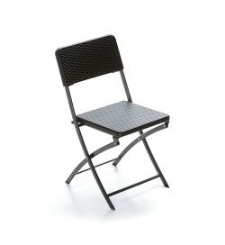 Set 4 sedie per bar e giardino pieghevoli effetto rattan color nero