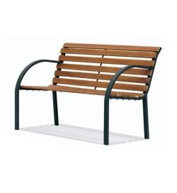 Panchina in acciaio con seduta in listelli di legno e braccioli