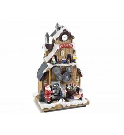 Carillon Natalizio fabbrica di Babbo Natale con luci suoni e trenino in movimento idea regalo