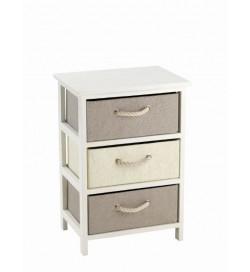 Cassettiera bagno e camera in legno con 3 cassetti colorati 40 x 60 centimetri