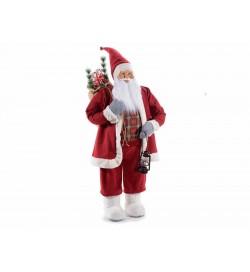 Babbo Natale da vetrina gigante con abito rosso lunga barba bianca e cappello modellabile altezza 1,58 metri