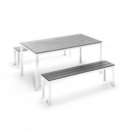 Set tavolo e panche da giardino per pranzi all'aperto in ferro e polietilene