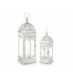 Lanterne portacandela in metallo Shabby Chic color bianco lavorazione anticata