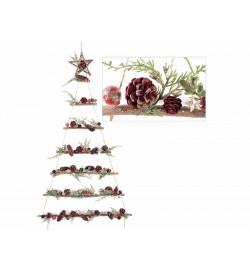 Albero di Natale da appendere con stella rametti e pigne ghirlanda Natalizia