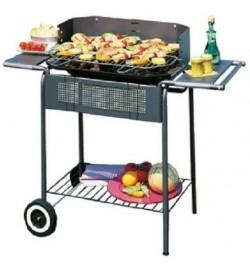 Barbecue a carbonella con carrello e struttura in acciaio