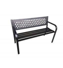 Panchina per esterni in acciaio nero con braccioli 3 posti