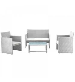 Salotto per esterni in rattan sintetico bianco 4 posti con tavolino e cuscini