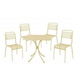 Set pranzo da giardino in acciaio 4 posti con tavolo e sedie impilabili