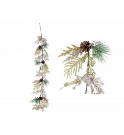 Festoni Natalizi con rametti di pino artificiali pigne bacche e mele lunghezza 1,1 metri