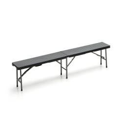 Panchina catering pieghevole con seduta effetto rattan colore nero