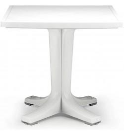 Tavolo bar e giardino in resina bianco con piede centrale 70 x 70 centimetri