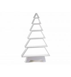 Albero di Natale per la casa in legno bianco con mensole espositore Natalizio per negozi e vetrine 1,24 metri