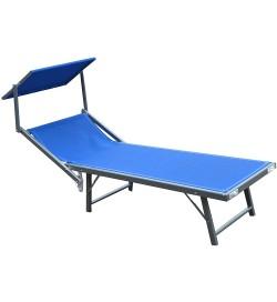 Lettino prendisole blu con struttura in alluminio e tetto parasole
