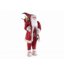 Babbo Natale decorativo gigante con abito rosso sacco doni e lanterna altezza 2 metri
