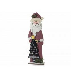 Babbo Natale con calendario dell'avvento in legno e scritta buon Natale