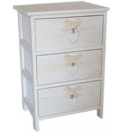 Cassettiera Shabby chic in legno Bianco Washed con 3 cassetti e pomoli con fiocchi e cuore 40 x 58 centimetri