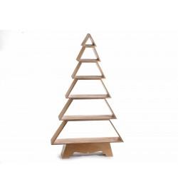 Albero di Natale in legno color oro con mensole per casa negozi e vetrine altezza 1,24 metri