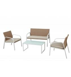 Salottino per giardini bianco e miele 4 posti con struttura in acciaio e cuscini