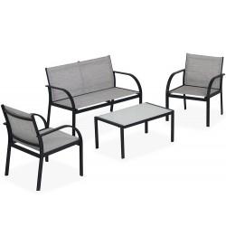 Salottino da giardino 4 posti con struttura in acciaio e sedute in textilene