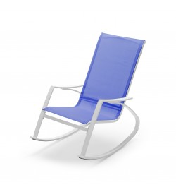 Sedia a dondolo da giardino con braccioli seduta color blu