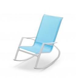 Sedia a dondolo da giardino con braccioli seduta color azzurro