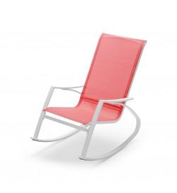 Sedia a dondolo da giardino con braccioli seduta color rosso